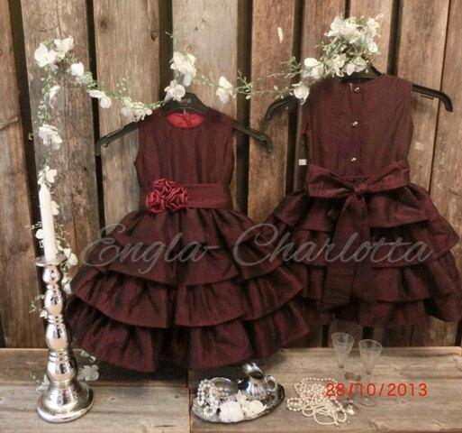 6720e342c35 Burgundy Flower Girl Dress. Rustic Christmas Wedding. Ruffle Flower ...