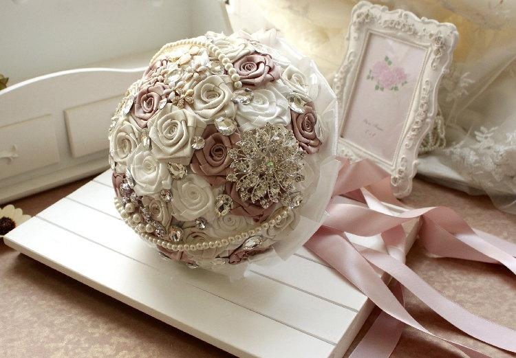 DIY Wedding Brooch Bouquet Kit (Ribbon Flowers, Rhinestone, Pearl ...