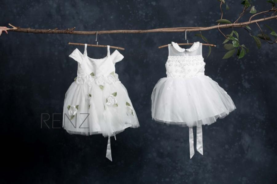 Mariage - Junior Bridesmaid Dress, Flower Girl Dress, White Dress (TK002)