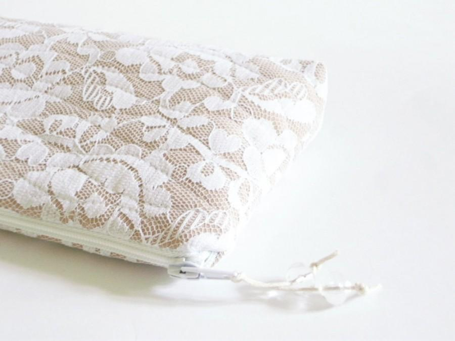 Hochzeit - Clutch for Bride, Brauttasche, Prom Lace Clutch, Wedding Cosmetic Purse, Mother of the Bride Gift, Mother of the Groom Gift