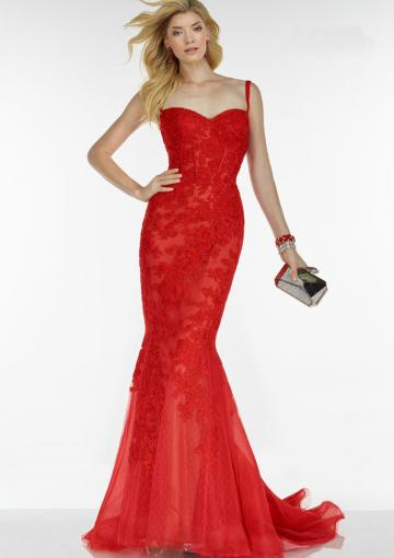 c29828fc7291b Buy Australia 2016 Ruby Mermaid Straps With Lace Organza Brush Length  Evening Dress/ Prom Dresses 5780 at AU$173.91 - Dress4Australia.com.au