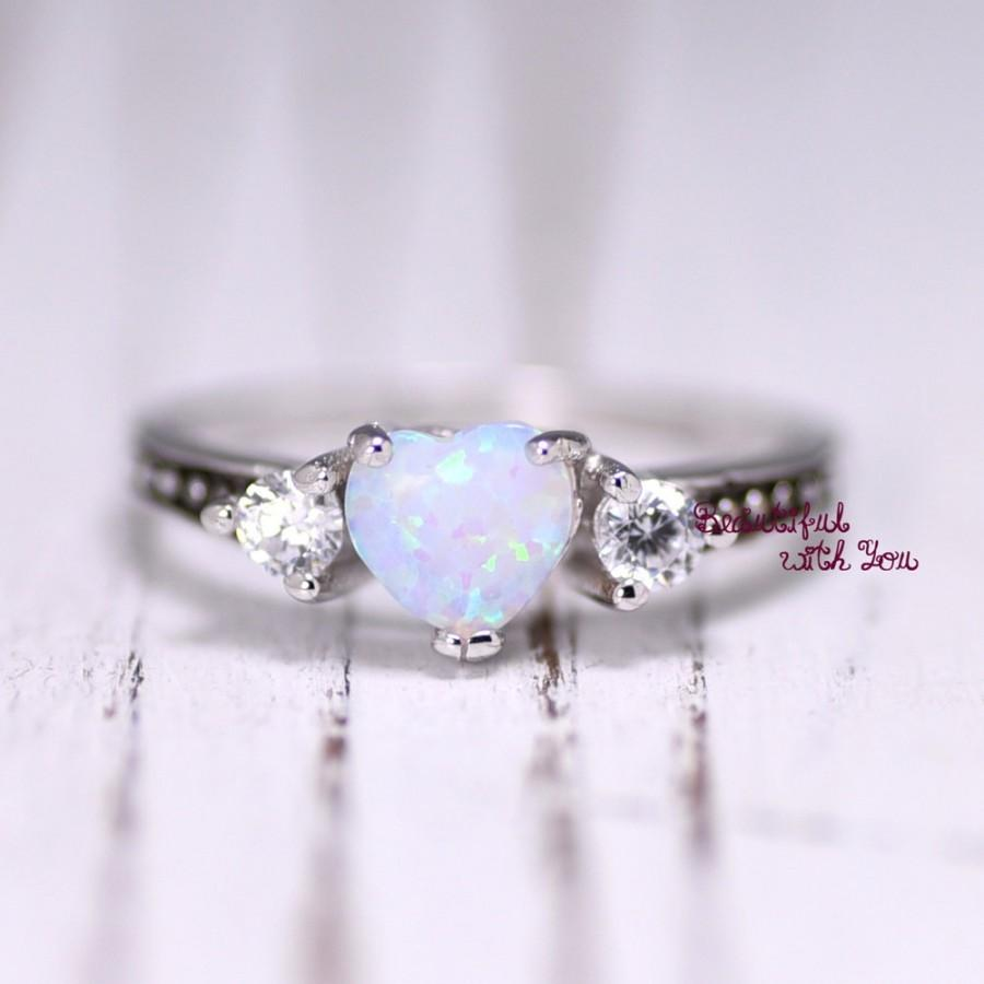 white opal ring silver lab opal ring opal wedding band womens opal wedding ring opal engagement ring promise ring for her heart opal - Opal Wedding Ring
