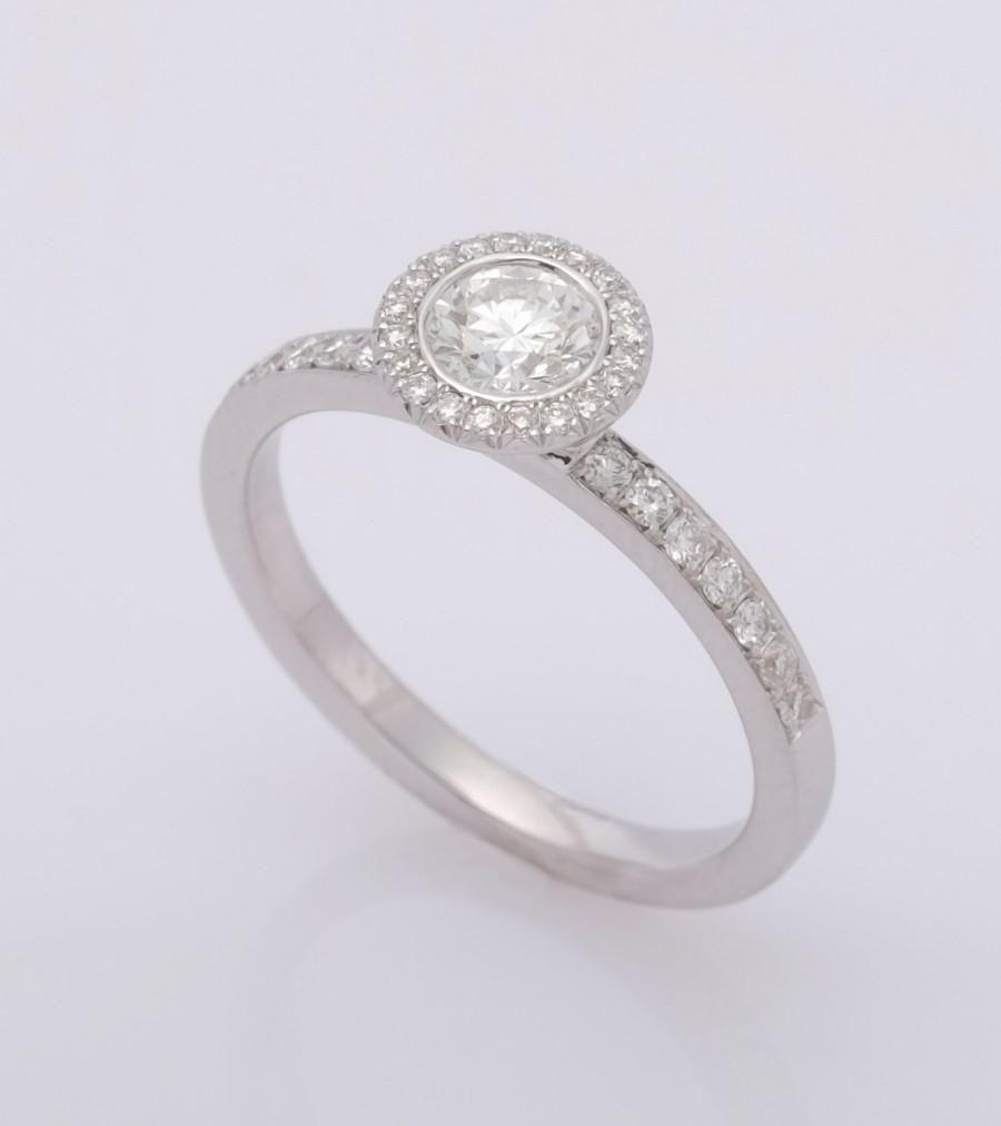 Hochzeit - Halo Engagement Ring, Bezel Ring, 18K White Gold Ring, Diamond Ring, Classic engagement, Delicate Ring