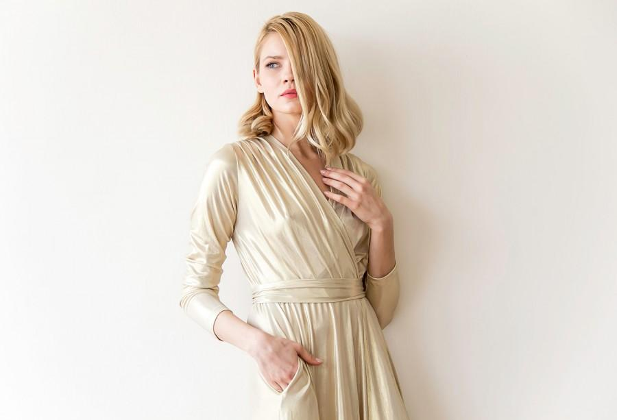Mariage - Maxi gold gown,  Maxi dress with slit, Long sleeves gold gown