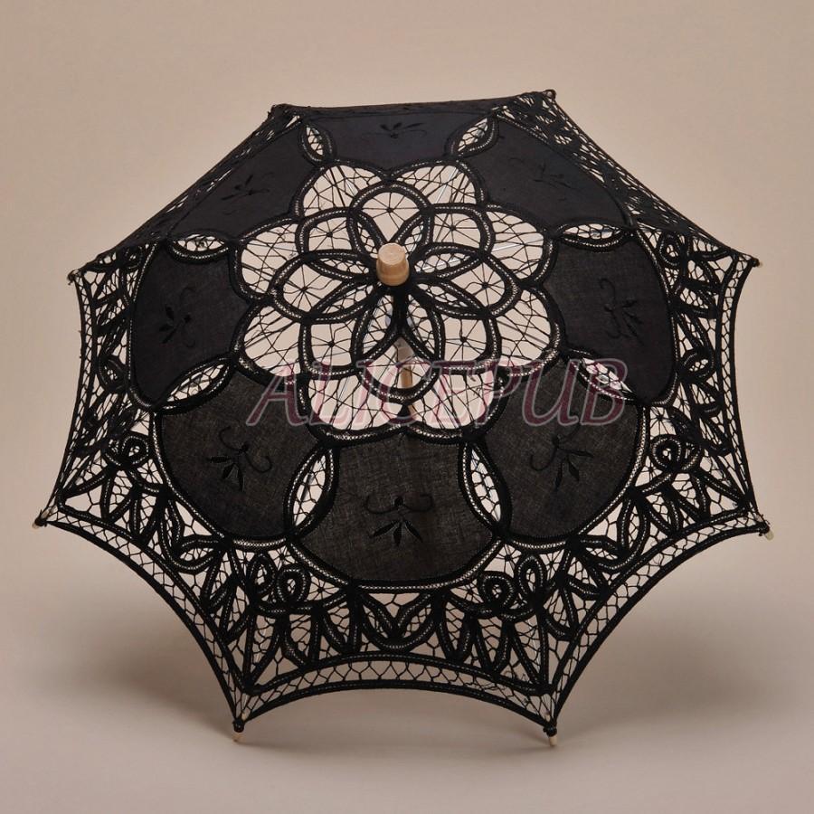 Hochzeit - Black Kid Umbrella, Child Umbrella Parasol, Handmade Cotton Umbrella, Wedding Flower Girl Umbrella, Bridal Shower Sun Umbrella HTS13B-4