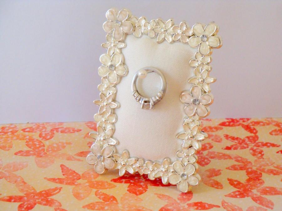 Wedding Ring Holder Rectangle Pearl Poppy Frame Engagement Ring
