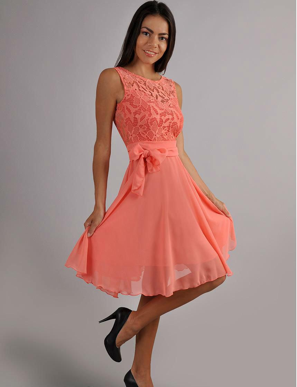 dfa3d5172524 Evening Coral Dress Chiffon ,Sleeveless Dress Lace ,Cute Dress bridesmaid