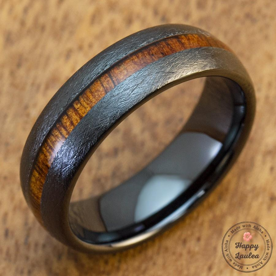Wedding - Black Ceramic Brushed Finished Ring with Hawaiian Koa Wood Inlay (7mm Width, Barrel Shaped, Comfort Fit)