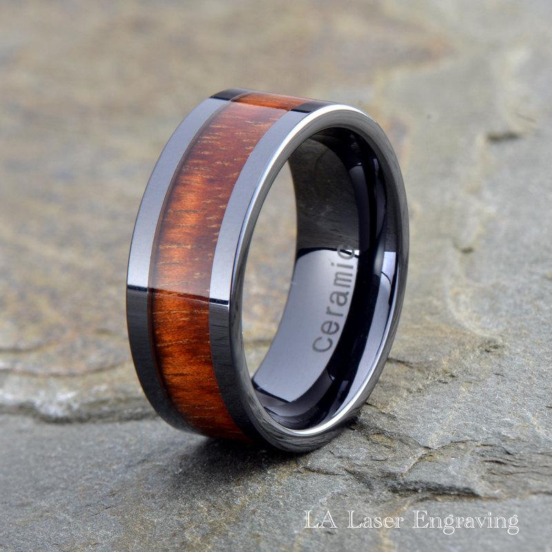 Male Wedding Bands Wood Inlay: Wood Ceramic Wedding Band, Mens Ceramic Ring, Ceramic Wood