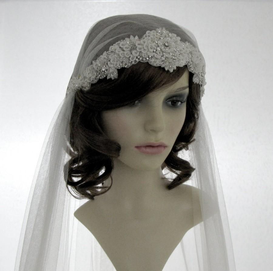 Mariage - 1920s style wedding  veil -  couture bridal cap veil  - Adore