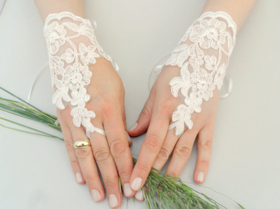 Mariage - ByVivivenne original design ivory Wedding Glove, Fingerless Glove, High Quality lace, ivory wedding gown, handmade