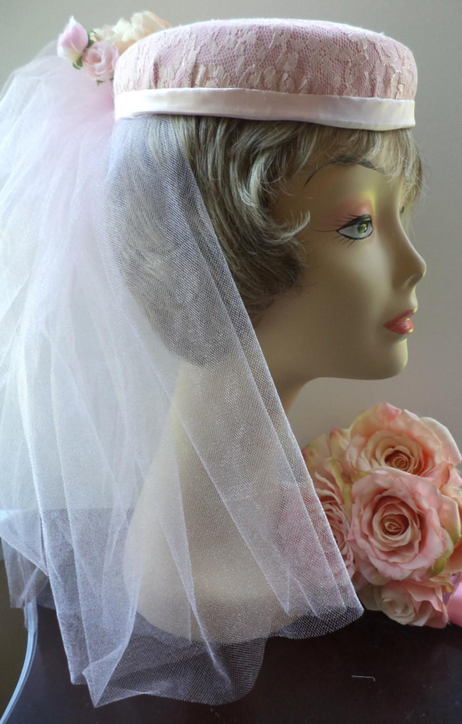 Свадьба - Hand Made Bridal Veil Pnk Pillbox Lace pillbox Pink Shimmer Tulle