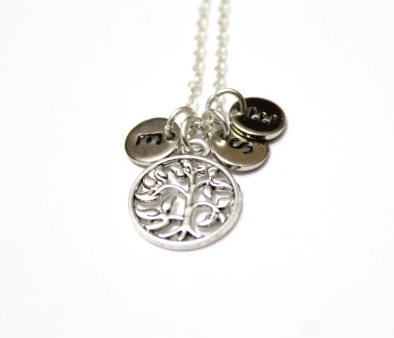 df3057802f0ba7 Tree of Life Initial Necklace, Family Tree Necklace, Personalized Womens  Wife Jewelry Gift, Silver-plated Tree of Life Necklace, Mom Grandma