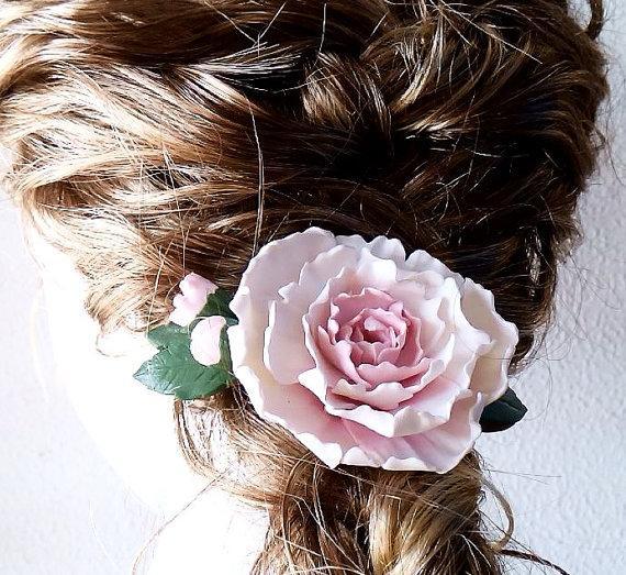 Wedding - Peony - hairpin handmade from polymer clay