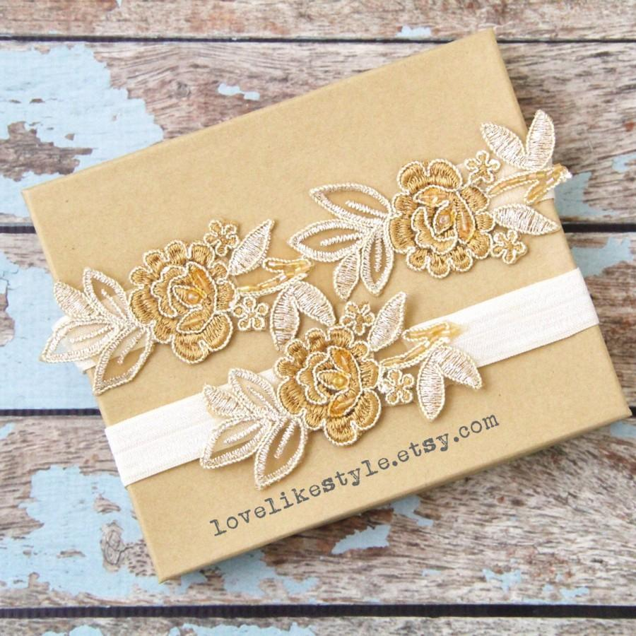 Light Gold And Tan Embroidery Flower Lace Wedding Garter Set, Tan ...