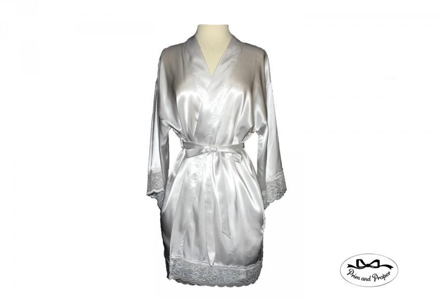 Wedding - Bride Robe, White Satin Bride Robe, Wedding Gift, Bridal Shower Gift,  Robe for the Bride, Wedding Robe, White Lace Robe, Bridal Shower Gift