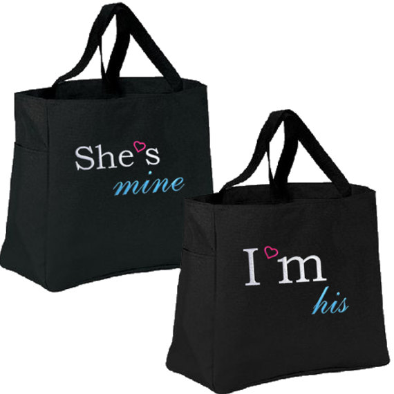 Mariage - Set of 2!  Bridal Gift Set, Brides, Bride and Groom, Honeymoon, Personalized Tote!