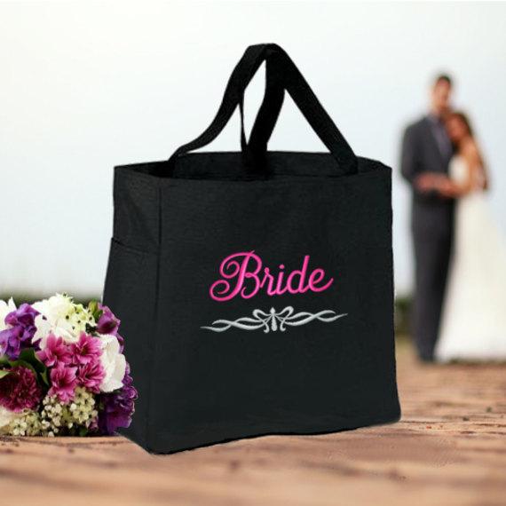 Set Of 4 Personalized Bridal Totes Bride Bridesmaids