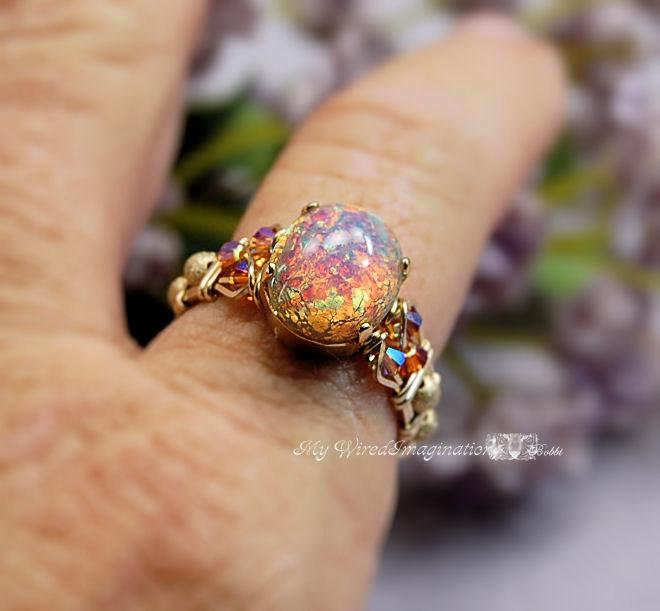 Wedding - Pink Opal Vintage West German 1950's Glass Ring Hand Crafted Wire Wrapped Original Signature Design Fine Jewelry October Birthstone