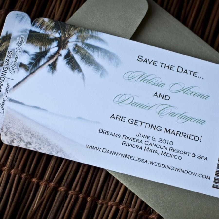 زفاف - Boarding Pass Invitation or Save the Date Design Fee (Palm Tree on the Beach Design)