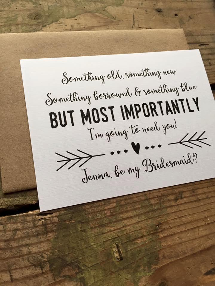 زفاف - Something Old, Something New, Something Borrowed, Something Blue, Will you be my Bridesmaid Card, Maid of Honor, Wedding Party - 1 card