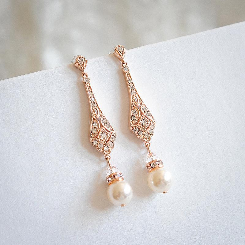 Rose Gold Wedding Bridal Earrings Chandelier Swarovski Pearl Drop Dangle Old Hollywood Jewelry Trissie