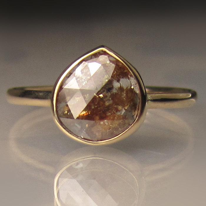 Свадьба - Rose Cut Diamond Engagement Ring, 14k Yellow Gold Diamond Ring, Diamond Slice Ring