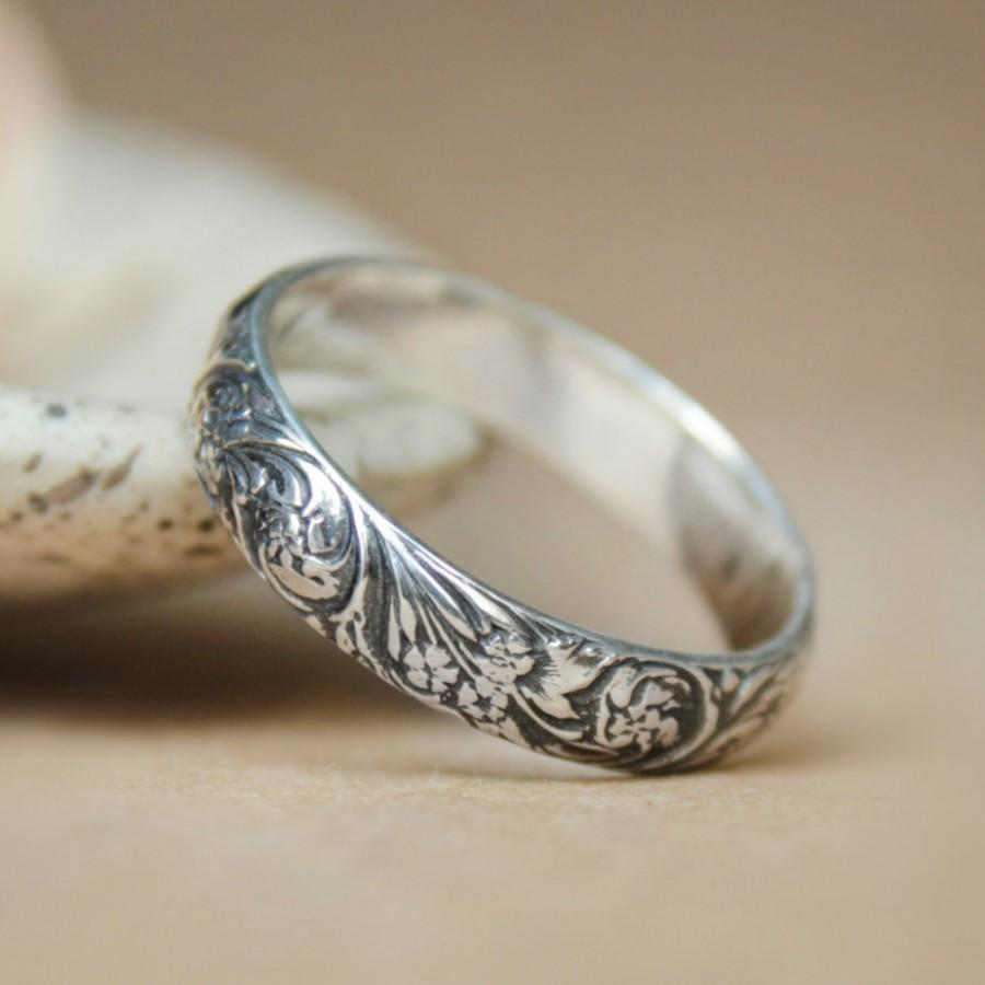 Narrow Wildflowers Wedding Band In Sterling