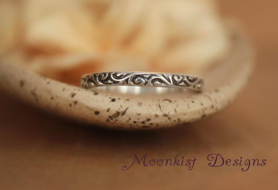 زفاف - Delicate and Narrow Wedding Band in Sterling Silver - Sterling Pattern Band - Smoke Swirl Wedding Ring or Promise Ring