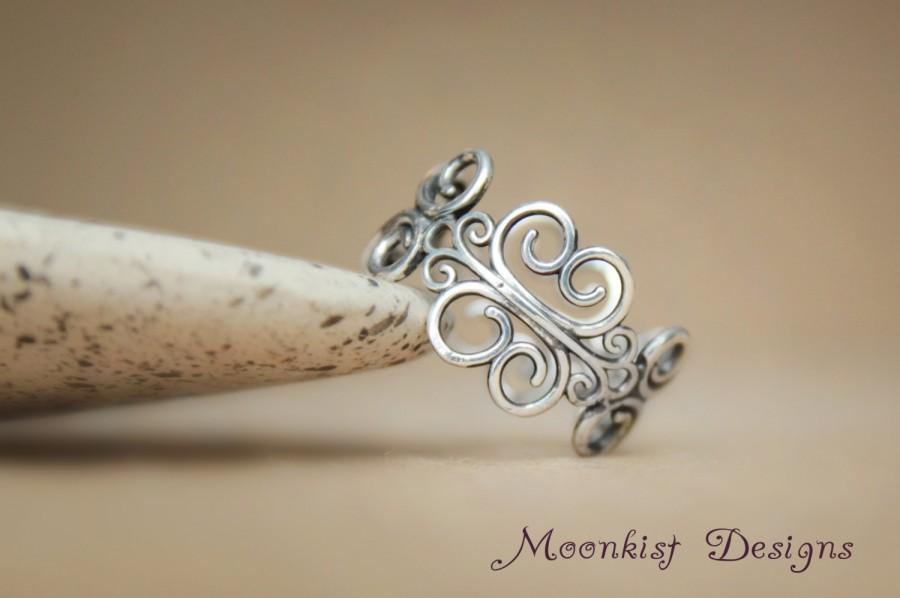 Vintage Inspired Filigree Wedding Band In Sterling Silver Open Edge Scroll Ring Excellent To Fit With Engagement