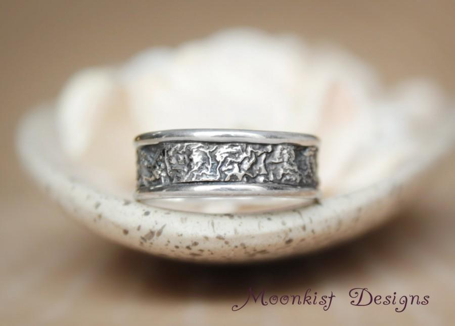 Mariage - Unique Narrow Reticulated Silver Wedding Band - Handmade Rustic Wedding Band - Artisan Commitment Band - Contemporary Wearable Wedding Art