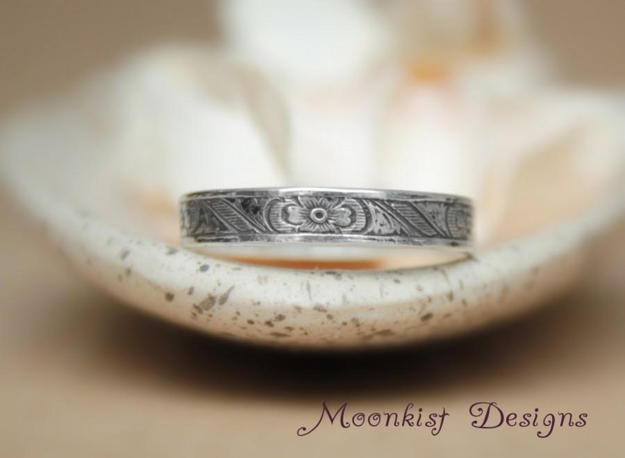 Vintage Inspired Engraved Wedding Band In Sterling Silver