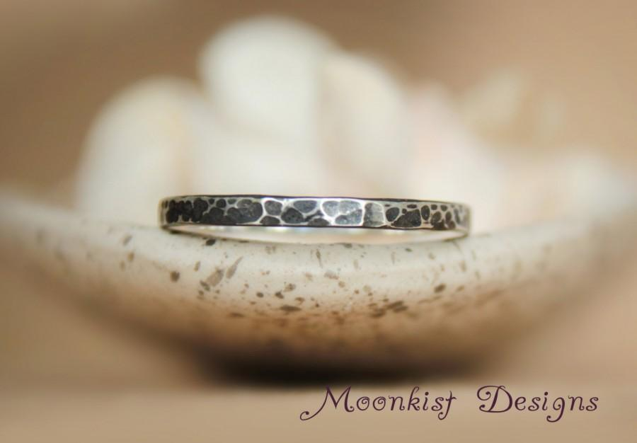 Rustic Hammered Square Wedding Band In Sterling Hand Forged Heavy