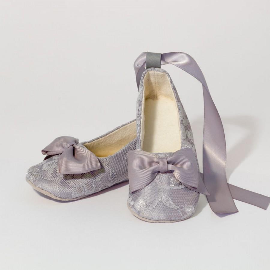 Silver Lace Baby Toddler Shoe Little S Gray Ballet Slipper Wedding Flower Flat Dance Souls Shoes