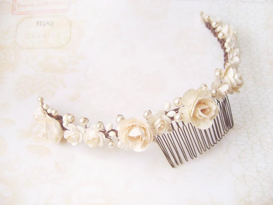 Hochzeit - Wedding hair accessories, Ivory flower crown, Bridal headpiece, Wedding hair comb, Pearl headband - GENEVIEVE back piece