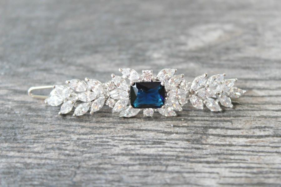 Wedding - Sapphire Bridal Barrette, CZ Wedding Barrette, Cubic Zirconia Bridal Barrette, Cubic Zirconia Wedding Hair Jewelry, Wedding Hair Clip