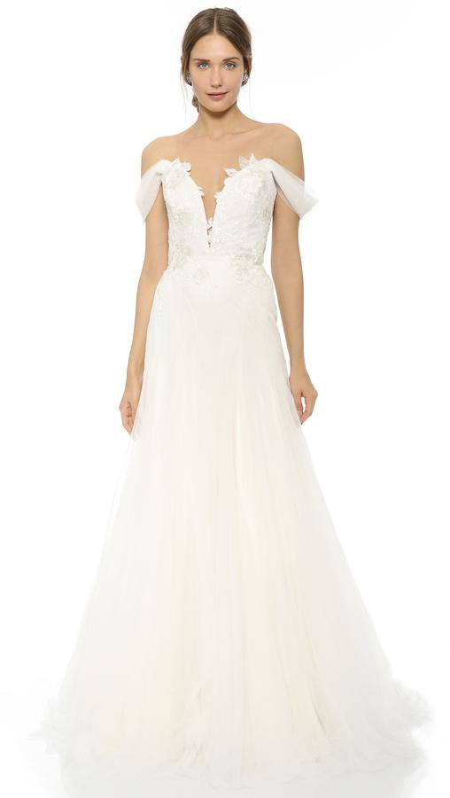 Mariage - Marchesa Hyacinth Gown with Plunging Neckline