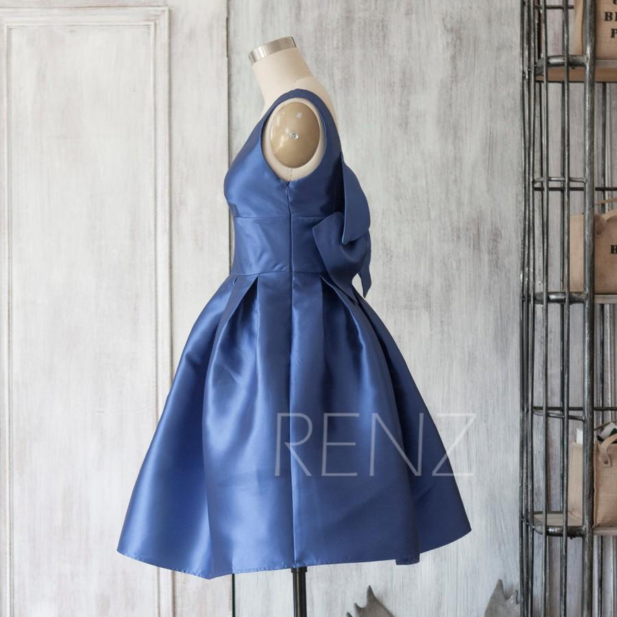 Mariage - 2015 New blue taffeta Bridesmaid dress, bowknot sash dress,V-Neck dress, Party dress, Formal dress, Knee-length dress (TT076)