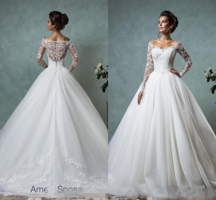 Amelia Sposa 2016 Lace Tulle Wedding Dresses Vintage Spring Fall Off ...