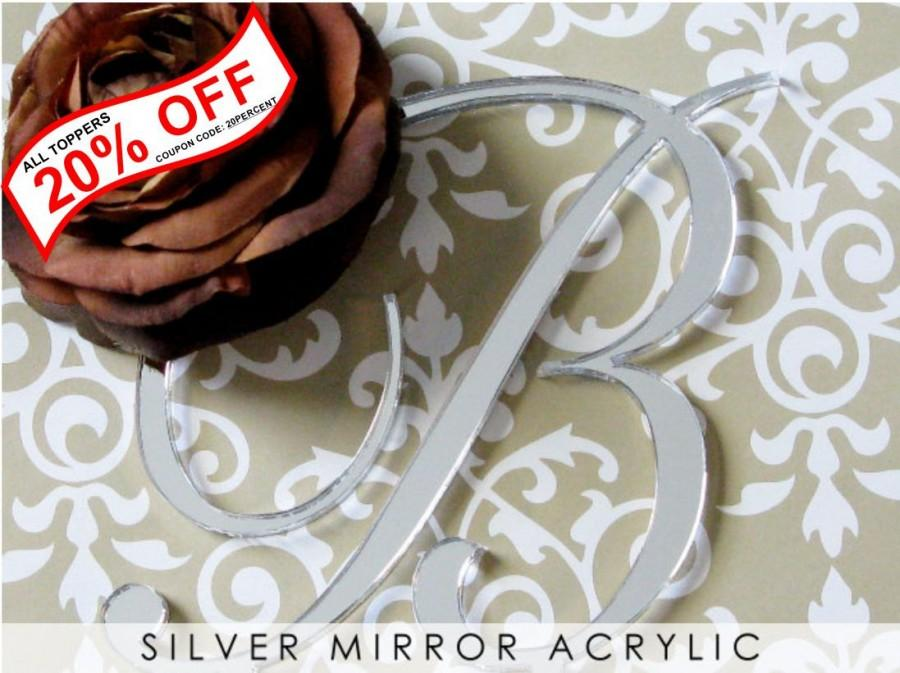 Свадьба - Silver Mirror Monogram Cake Topper for Wedding Cake any Initial or Letter