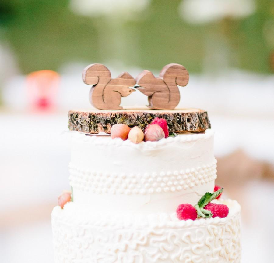 Squirrel Heart Cake Topper Mini Woodland Wedding CakeTopper - Present Wedding Cake