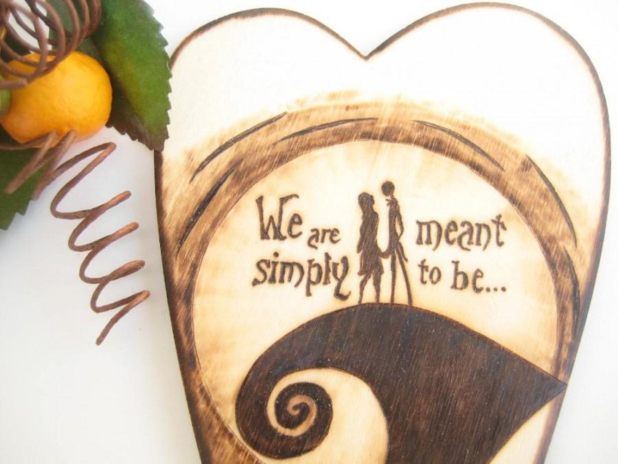 Jack And Sally Wedding Cake Topper The Nightmare Before Christmas Halloween Silhouette Pyrography Personalized Gift For Couple