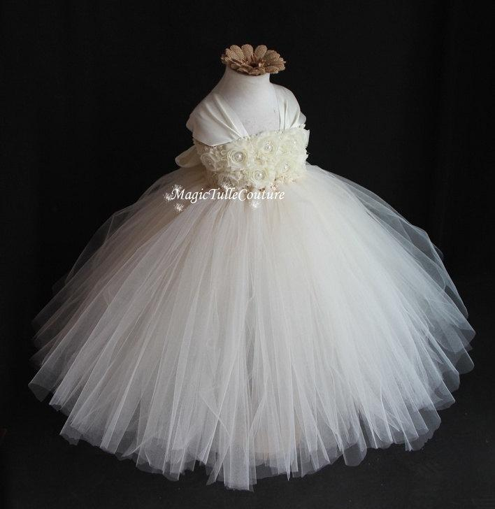 Cap Sleeve Ivory Flower Girl Dress Girl Tutu Dress Shabby Flowers ...