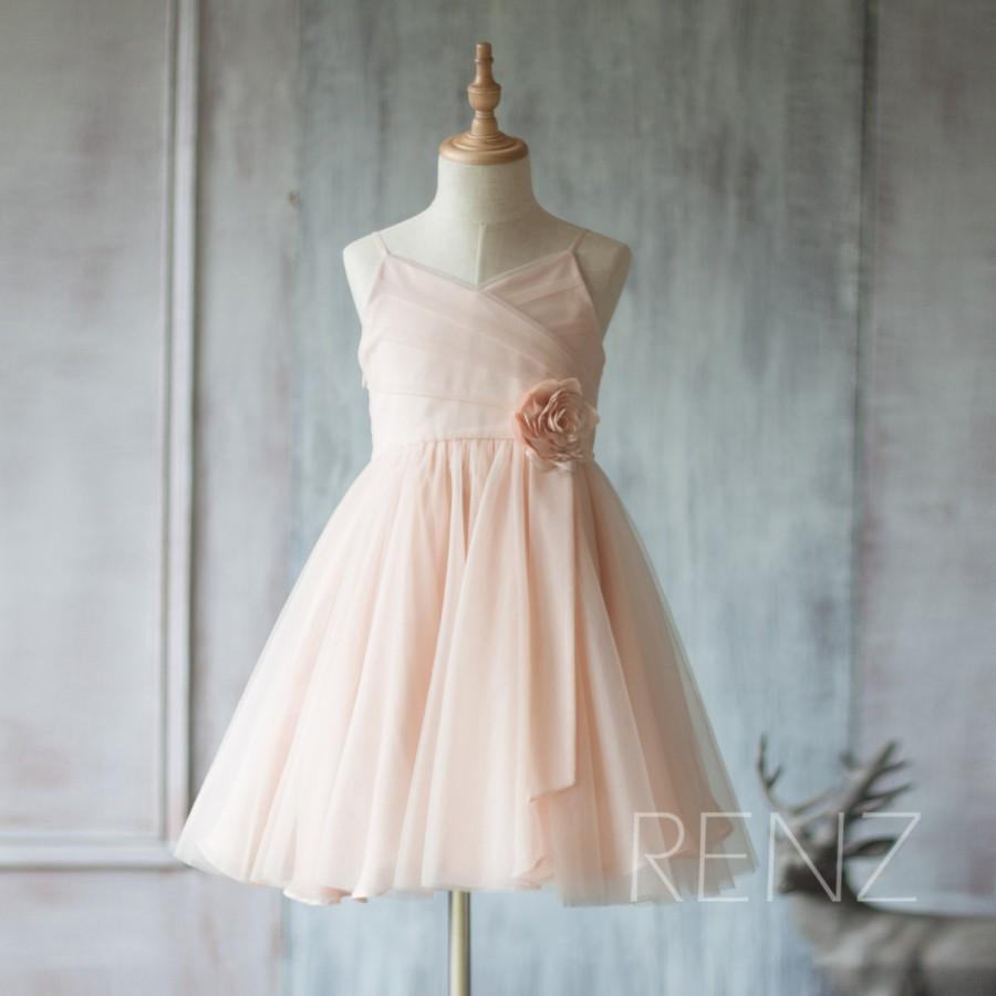 2015 Peach Junior Bridesmaid Dress, Spaghetti Strap Flower Girl ...