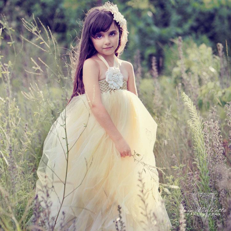 Wedding - Gold Tutu Dress..Birthday Tutu Dress.. Flower girl dress…Great Gatsby…Champagne tutu dress