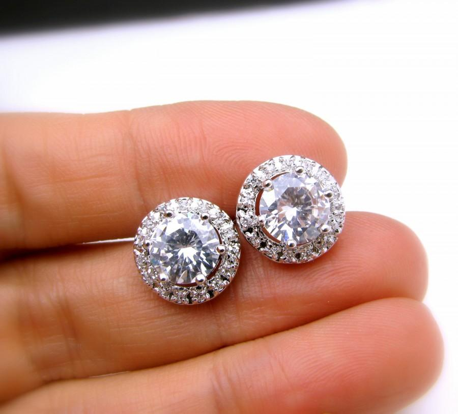 Wedding - bridal wedding prom christmas party  round shape cubic zirconia luxury post white gold silver earrings stud