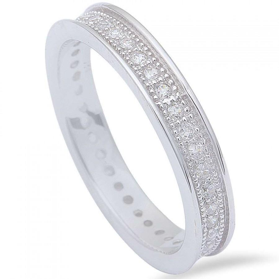 4mm Full Eternity Band Milgrain Men Women Unisex Stackable Wedding