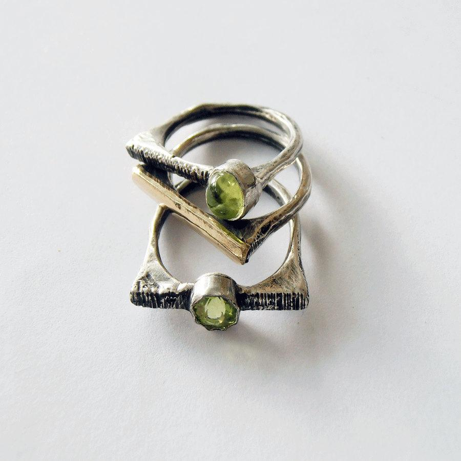 Wedding - 3 silver and gold Stackable rings.Israeli rings.Peridot gemstone ring.14kt gold ring.Statement ring. rustic with a distressed finish.