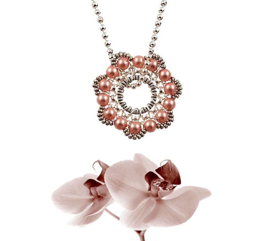 Wedding - Rose Gold Pearls Silver Bridal  Pendant - Delicate Pearl Medallion - Round Geometric Silver Pendant - Feminine Necklace Bridesmaids Gift