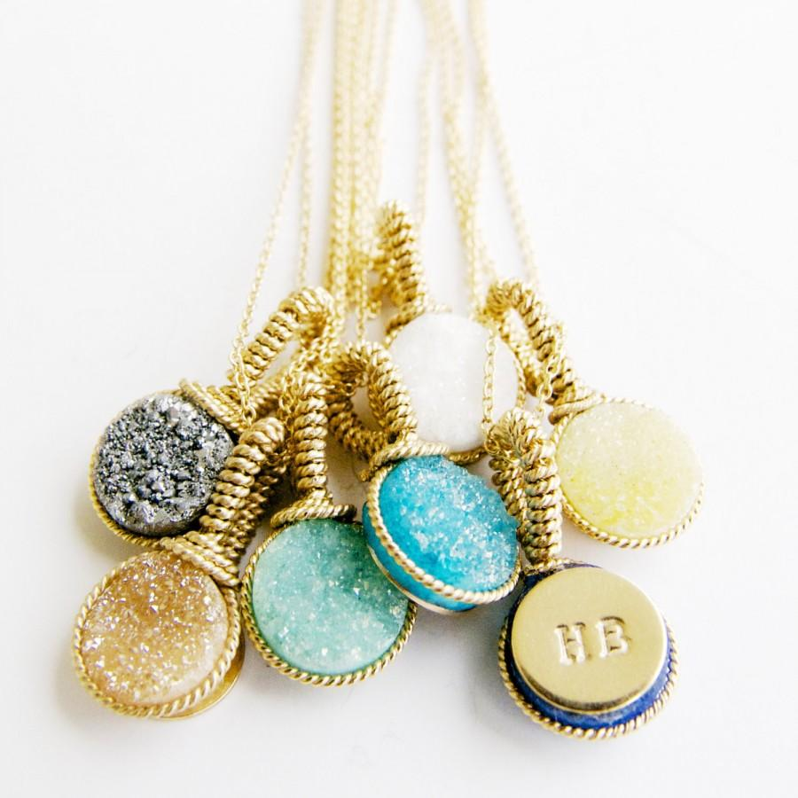 Gift Ideas/ Handcrafted Gifts by Bare and Me/ Druzy Necklace Bridal ...